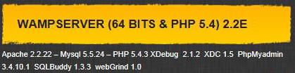 Wamp 64bit-PHP5.4- 2.2E (Apache 2.22 -Mysql 5.5.24-PHP 5.4.3 -PHPMyadmin 3.4.10.1 SqlBuddy 1.3.3 -WebGrind 1