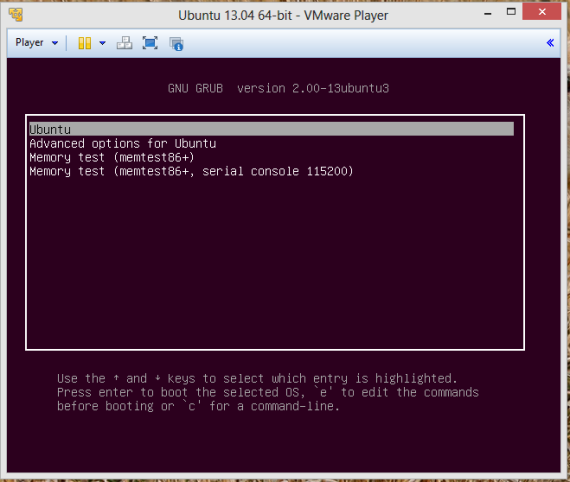VMwarePlayer-ubuntu 13.04 open