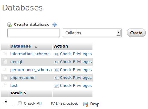 PhpMyAdmin-DatabasePrivilages