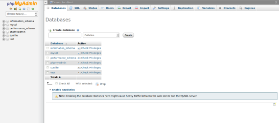 PhpMyAdmin-DatabaseSunlifeCreated